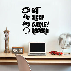 Vinyl Wall Art Decal EAT Sleep Game Repeat 23quot; x 24quot; Gamers Fun Quote $14.99