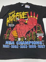 VINTAGE Chicago Bulls 1997 Champion High Five 5 Titles T Shirt SIZE LARGE NEW $145.00