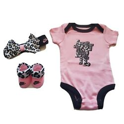 3 Piece Nike Baby Girls Outfit Gift Set 0 6 Months Bodysuit Booties Pink B26 $28.99