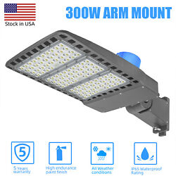 300W LED Parking Lot Lighting w Photocell Direct Mount Commercial Outdoor Lamps $189.00