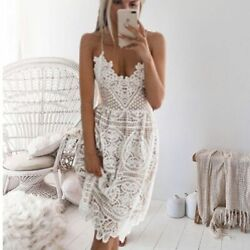 Beach Lace Midi Dress White Swimsuit Crochet Beachwear Bathing Cover Ups Beach T $29.99