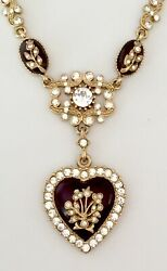 Rare MFA Museum Fine Arts Antique Style HEART amp; Crystals Necklace VALENTINES $74.00