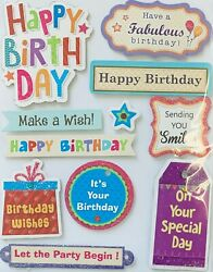 Happy Birthday Sayings 3D Stickers Planner Papercraft DIY Birthday Crafts $3.95