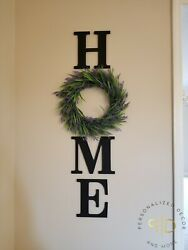 Black Home Wall Letters With Lavender Wreath Farmhouse Decor $68.00