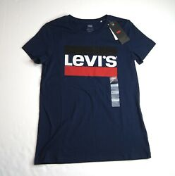 LEVI#x27;S Women#x27;s Perfect Navy Graphic Logo T Shirt NEW NWT $14.95