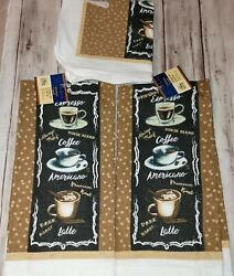 2 Home Collection Coffee Themed Kitchen Towels 15quot;x25quot; plus 2 Washcloths $12.95