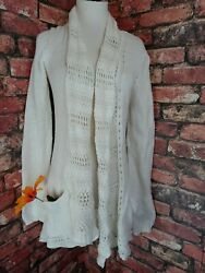 Anthropologie Angel of The North Womens Open Cardigan Cream Cotton Wool S Knit $19.99