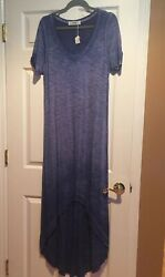 NWT Able The Label Boho Tiered Maxi Burnout T Shirt Blue Dress Size Large