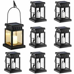 8 Pack Solar Hanging Lantern Outdoor Candle Effect Light With Stake For Lawn $68.45