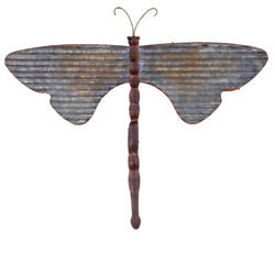 DRAGONFLY Galvanized Metal Wall Hanging Rustic Farmhouse 2 Sizes Dragonflies $26.95