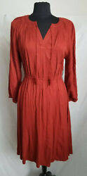 Old Navy Long Sleeve Pleated Boho Dress Tierra Red Sz: S NWT $9.99