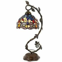 Tiffany Desk Lamp Stained Glass Table Reading Banker Light Crystal Bead Blue Yel $139.99