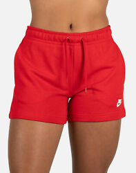 Nike WOMEN SPORTSWEAR CLUB FLEECE SHORTS RED WHITE CJ3924 657 $34.99