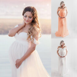 Pregnant Womens Long Maternity Maxi Gown Off Shoulder Dress Photography Photo US $18.35