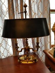 High Quality Heavy Brass Bouillotte Lamp Frederick Cooper Black Tole Metal Shade $295.00