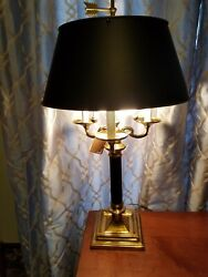 Tall Quality Heavy Brass Bouillotte Lamp Frederick Cooper Black Tole Metal Shade $399.99