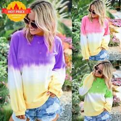 Women Gradient Long Sleeve T Shirt Ladies Casual Loose Round Neck Blouse Top Tee $14.48
