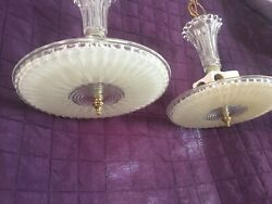 VINTAGE Chandelier Pendant Light Fixtures. Brass and glass. Hang down style $85.00