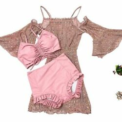 Three Piece Swimsuit Sports Summer Sexy Bathing Cover Up Swimwear Bikini Set $62.57