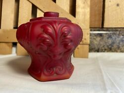 Antique Red Satin Glass Lions Head Oil Lamp Base $22.39