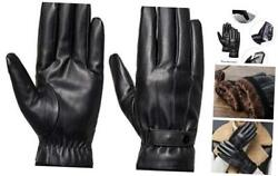 Men#x27;s Winter Black Gloves Leather Touchscreen Snap Closure Cycling Large Black $15.16