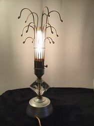 Vintage Metal amp; Crystal Glass Table Art Lamp Wire Frame Bulb Guard Cage arms $32.00
