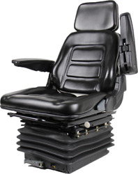Tractor Backhoe Seat Fully Adjustable with Suspension and Swivel Black Vinyl $499.99