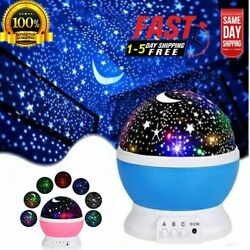 Starry Night Sky Projector Lamps Kids Baby Gift Moon Star Lights Rotating Cosmos $10.99