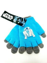 Disney Star Wars Blue Gray Kids Winter Gloves Featuring R2D2 New With Tags $8.90