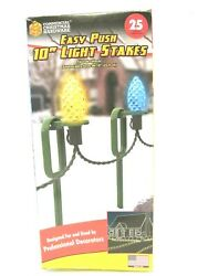 NEW COMMERCIAL CHRISTMAS HARDWARE 25ct EASY PUSH 10quot; LIGHT STAKES BRAND NEW