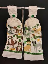 Crochet Top Hanging Kitchen Towels Lucky Dogs St. Patrick#x27;s Theme $7.75