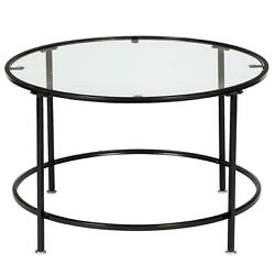 Home Round Iron Coffee Table Room Tempered Glass Countertops Black US $65.36