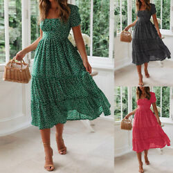 Summer Women#x27;s Vintage A Line Maxi Dress Short Sleeve Ruffle Pleated Sundress $18.14