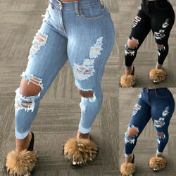 WOMEN#x27;S HIGH WAISTED SKINNY RIPPED DENIM JEANS PANTS JEANS STRETCHY TROUSERS USA $12.34