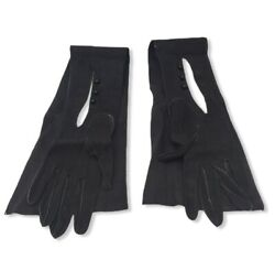 Estate Vintage 22.5quot; Long Roeckl Black Kid Skin Leather Size 35 Opera Gloves $59.99