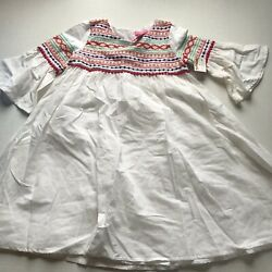 Isaac Mizrahi White Colorful Embroidered Girls Dress Size 7 *read* A2294 $12.00