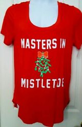 NEW WOMENS FUNNY FIFTH SUN MASTERS IN MISTLETOE TOP size LARGE $19.99