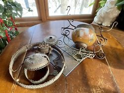 Antique Hanging Chandelier Oil Lamp Light Fixture Art Glass Shade Pull Chains $124.99