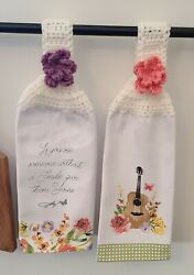 *Dolly Parton* Crochet Top Hanging Kitchen Towel Set of 2 Spring Floral $19.99