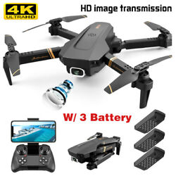 New 1080P Drone 4K HD Wide Angle Dual Camera WiFi FPV RC Foldable Pro Quadcopter $46.98