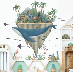 Whale Sea Animal Wall Stickers Decoration Kids Rooms Home Living Room Wall Decal $18.70