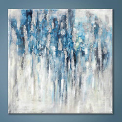 Modern Abstract Wall Art Canvas:Blue and Gray Artwork Painting for Living Room $124.67