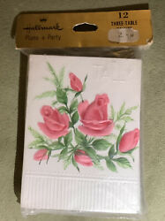NEW VINTAGE HALLMARK PLANS A PARTY 12 3 Three TABLE Floral Roses $3.65
