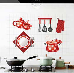 Kitchen Wall Sticker Waterproof Oilproof Self Adhesive Wallpaper Wall Decals $15.30