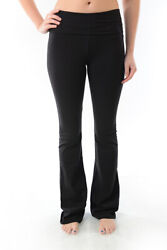 T Party Women#x27;s Foldover Yoga Pants Black Grey Navy S M L XL Made in USA $22.90