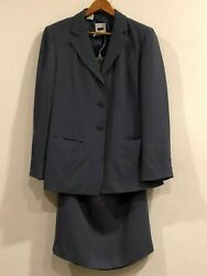 Vintage DKNY Women#x27;s Gray Blue 100% Silk Jacket and Skirt Suits $18.99