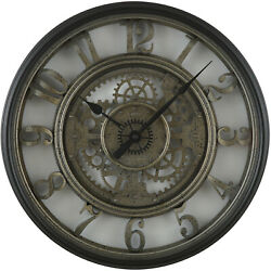 Moving Gear 20quot; Large Wall Clock Industrial Age Styling Modern Rustic Quartz $41.98