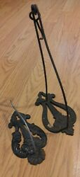 2 Antique Hanging Hooks American Cast Iron Country Store Mercantile $19.00