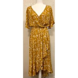 Kori America Yellow Floral Summer Dress Women#x27;s size: Small $24.99