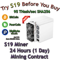 Antminer S19 95Th s 24 Hours Mining Contract SHA256 mines Bitcoin BSV BCH DGB $58.98